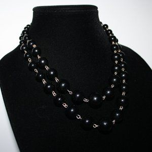 Silver and black beaded layered necklace adjust.